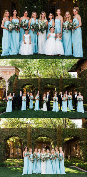 Simple Elegant Blue Mismatched Strapless And V-neck Long Column Bridesmaid Dresses . AB1185