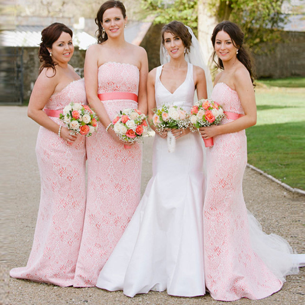 Elegant Pink Full White Lace Strapless Floor Length Wedding Party Long Bridesmaid Prom Dresses, AB1173