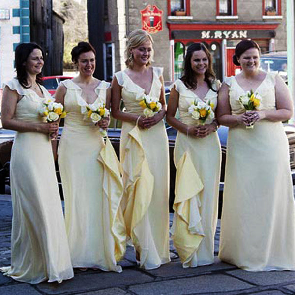 Pastel Yellow Chiffon Cap Sleeve V-neck Elegant Charming Long Column Bridesmaid Dresses. AB1186