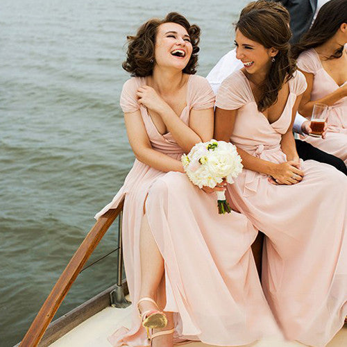 Charming  Long Light Pink Deep V-neck Cap Sleeve Split Chiffon Sash Cheap Simple Style Bridesmaid Dresses, AB1158
