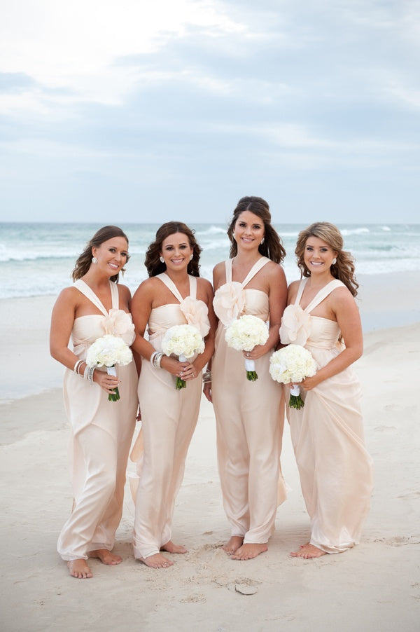 Unique Handmade Flowers Grecian Straight Across Long Bridesmaid Dress, AB1171