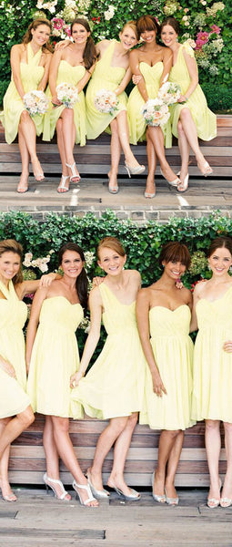 Mismatched Sweetheart Sleeveless Halter One Shoulder Knee Length Lemon Yellow Chiffon  Bridesmaid Dresses, AB1160