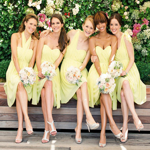 ac2bb65324d FEATURED PRODUCTS. Your product s name.  200.00. Mismatched Sweetheart  Sleeveless Halter One Shoulder Knee Length Lemon Yellow Chiffon Bridesmaid  Dresses ...