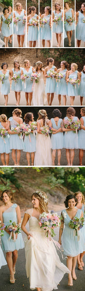 Summer Short Cheap Mismatched Sleeveless V-neck  One Shoulder Lace Chiffon Pleated Light Blue Bridesmaid Dresses, AB1161