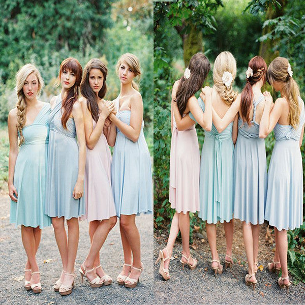 Convertible Strapless Knee Length Pastel Color Jersey Bridesmaid ...