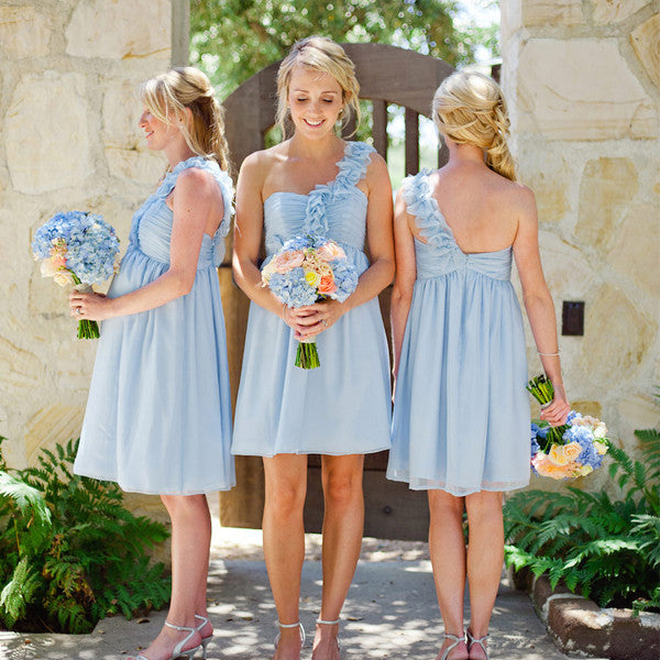 Cheap Strapless  Pleated Flowers One Shoulder Knee Length Light Blue Chiffon Simple Style Bridesmaid Dress, AB1164