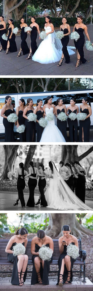 Cheap Strapless Sweetheart Black Satin Sexy Split Front Wedding Party Long Bridesmaid Dress, AB1172
