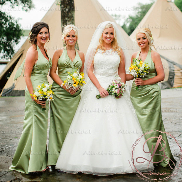 Newest Elegant Green Satin Halter Pleating V-neck Sleeveless Long Bridesmaid Dresses. AB1188