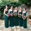Teal Chiffon One Shoulder Pleating Straight Across Cheap Long Bridesmaid Dresses, AB1180