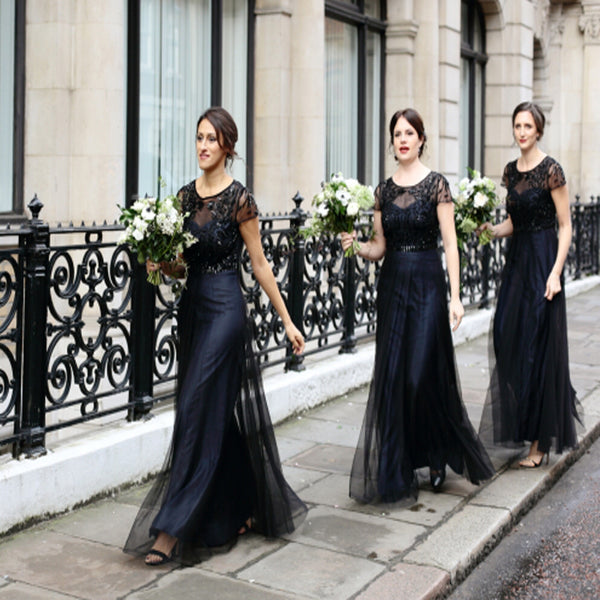 Black Short Sleeve See- through Tulle Beading Open Back Long Bridesmaid Dresses, AB1177