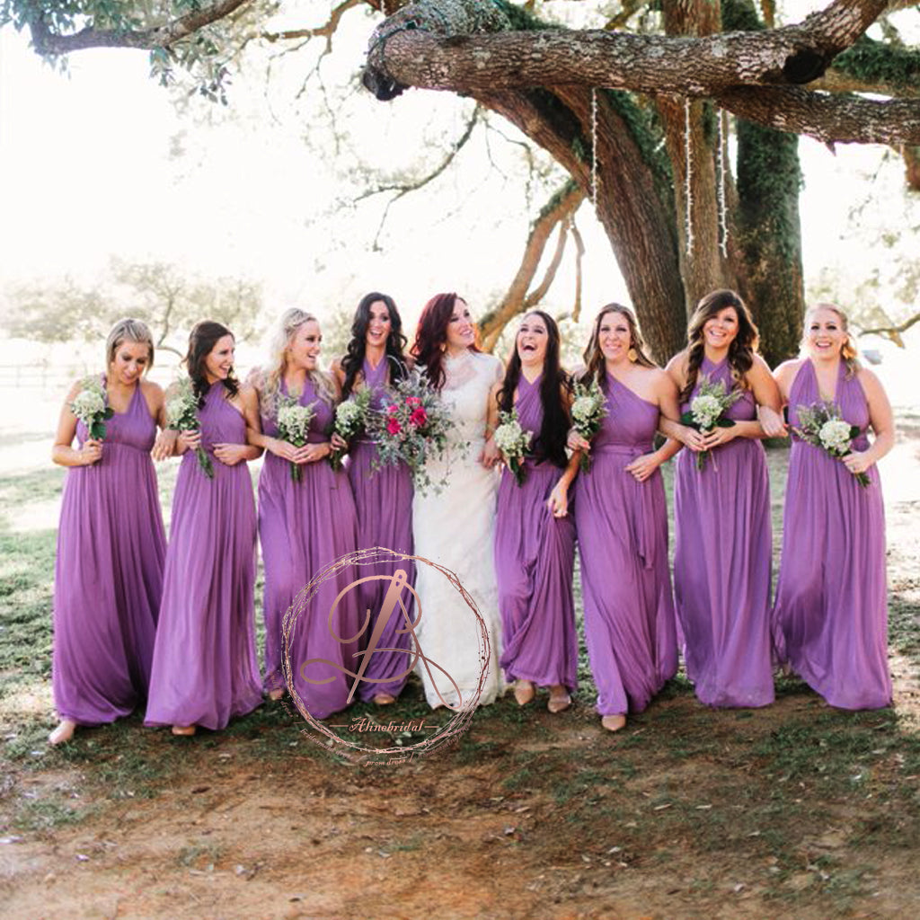 Popular Simple Purple Chiffon Convertible Long A-line Wedding Party ...