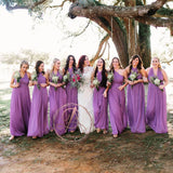 Popular Simple Purple Chiffon Convertible Long A-line Wedding Party Bridesmaid Dresses. AB1198