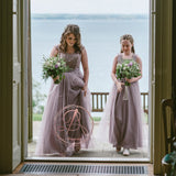 Mismatched Elegant Popular A-line Sleeveless Square Neck Lace Bridesmaid Dresses. AB1197
