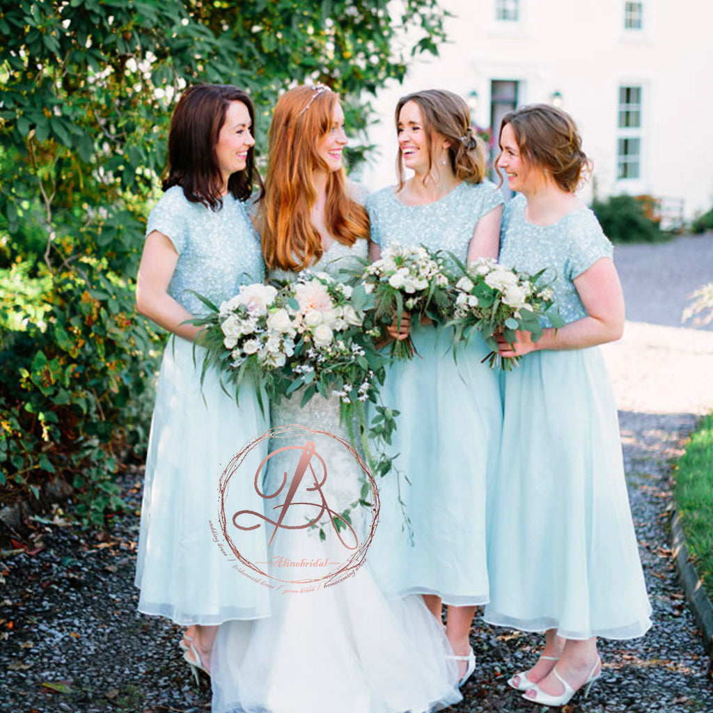 Sparkly Sequins Light Blue Chiffon Round Neck Short Sleeve Ankle-length Bridesmaid Dresses. AB1196