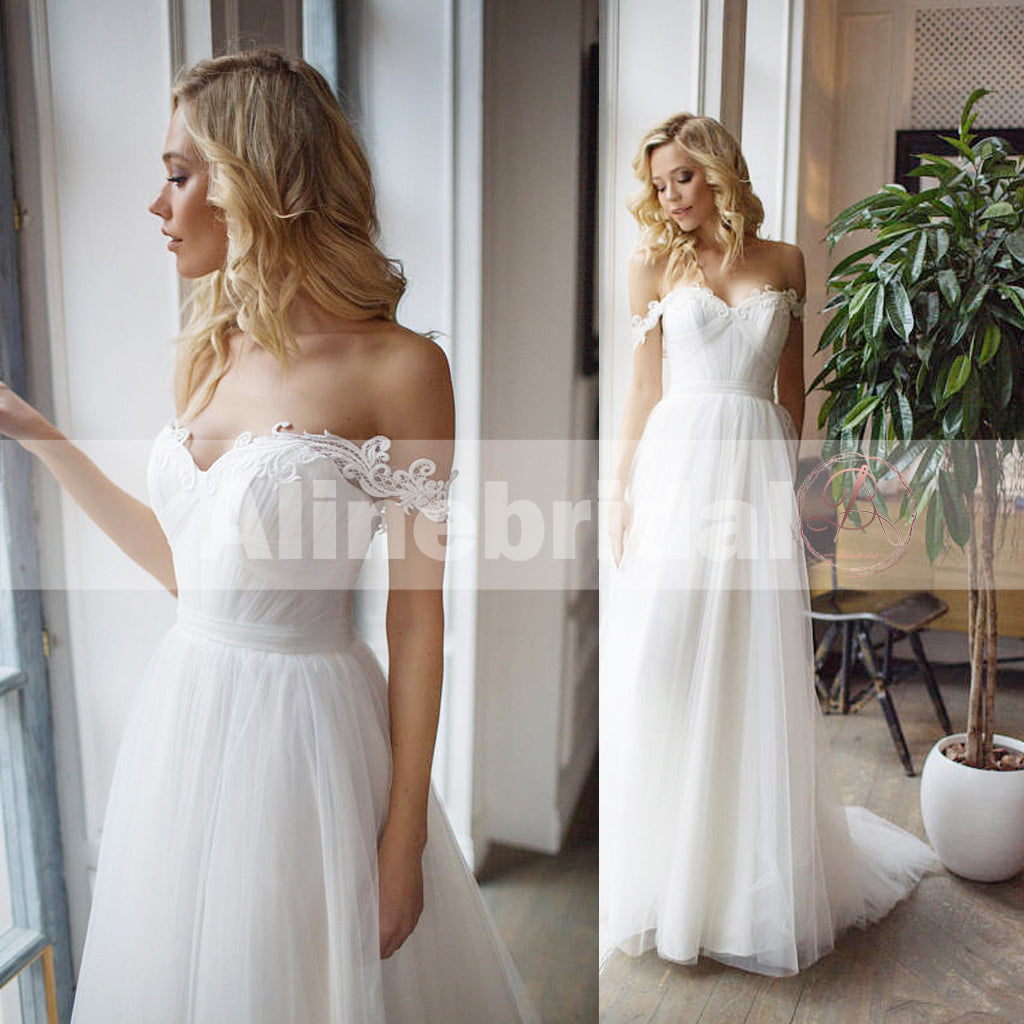 Cheap Simple Off The Shoulder Lace Tulle A-line Wedding Dresses ...