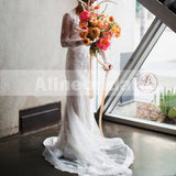 Fashion Lace Appliques Sexy Deep V-neck Long Sleeves Wedding Dresses, AB1142