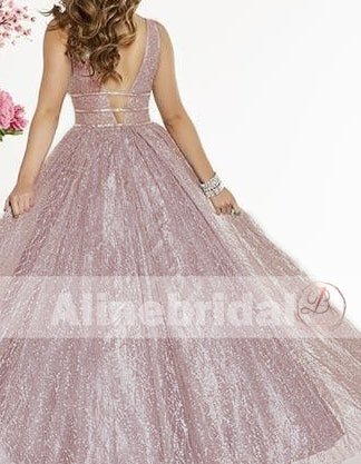Fashion Sparkly Sequin V-neck Sleeveless A-line Prom Dresses, PD00086