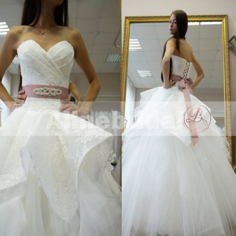 Gorgeous Lace Up Back Ball Gown Ruffles Tulle Wedding Dresses, AB1143