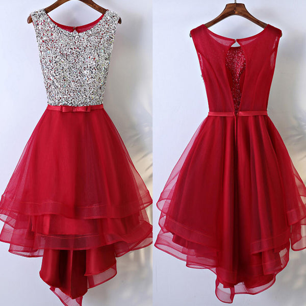 Red HI-Lo Sleeveless Round Neckline Bow Sash Key Hole Back Rhinestone Sequins Homecoming Dresses,BD00203