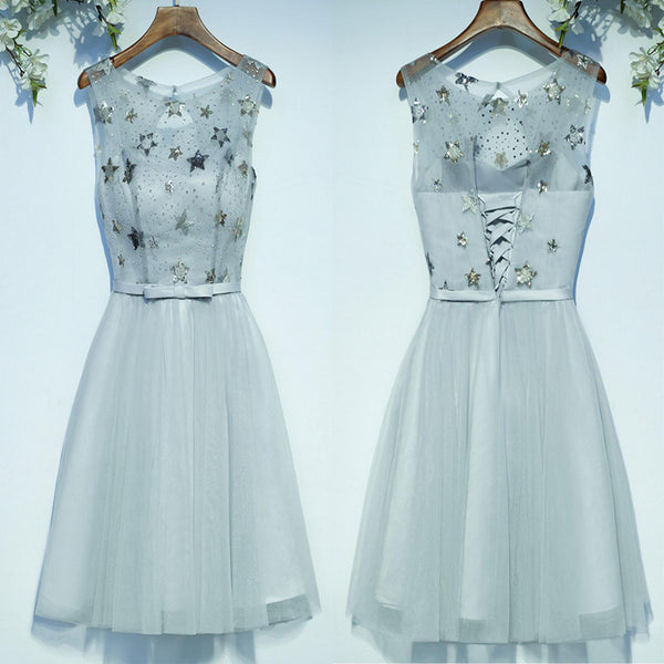 Cute Lovely Sleeveless Scoop Neckline Bow Sash Lace Up Back Star Appliques Sequins Beads Knee Length Homecoming Prom Dresses,BD00204