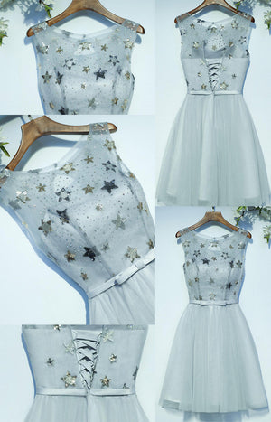 Cute Lovely Sleeveless Scoop Neckline Bow Sash Lace Up Back Star Appliques Sequins Beads Homecoming Dresses,BD00204