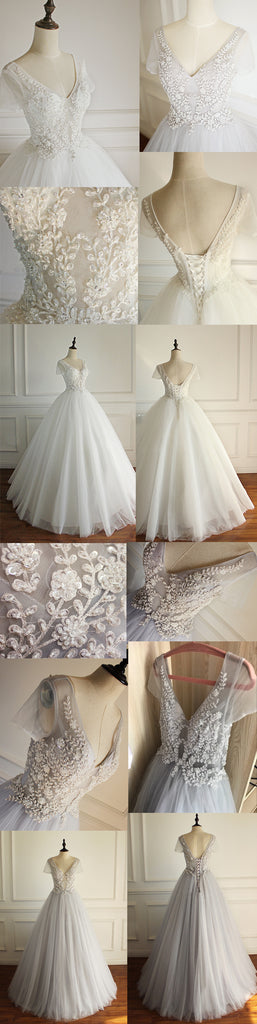 Elegant A-line Short Illusion Sleeve Appliques Rhinestone Lace Up Back Floor Length  Wedding Dress, AB1095