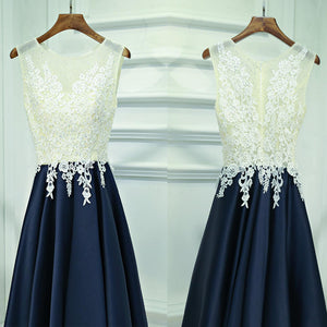 Generous Refreshing Color Scoop Neckline Sleeveless  Lace Decals Beads  Homecoming Dresses,BD00206
