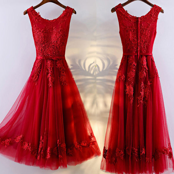 Charming A-line Round Neckline Sleeveless Bow Sash Lace Appliques  Homecoming Prom Dresses,BD00207
