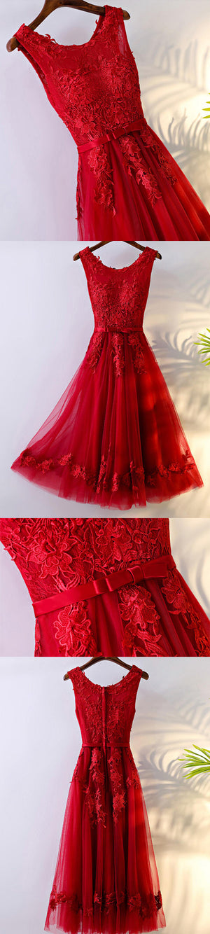 Charming A-line Round Neckline Sleeveless Bow Sash Lace Appliques  Homecoming Dresses,BD00207