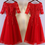 Half Sleeve Scoop Neckline Red Lace Appliques Sequins Tea-Length Homecoming Dresses,BD00209