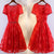 Pretty A-line Floral Prints Lace Beading Short Sleeve Lace Up Back Red Homecoming Prom Dresses,BD00210
