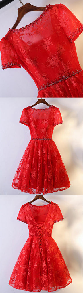 Pretty A-line Floral Prints Lace Beading Short Sleeve Lace Up Back Red Homecoming Dresses,BD00210