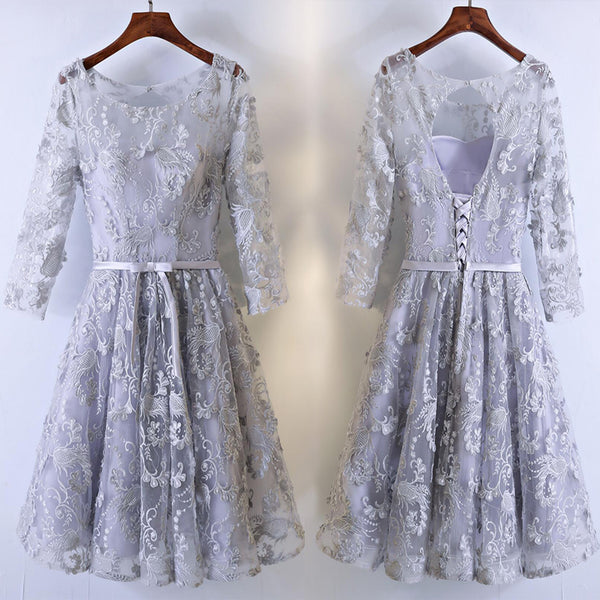 Elegant Unique Lavender Floral Prints Lace Long Sleeve Keyhole Lace Up Back Homecoming Dresses,BD00211