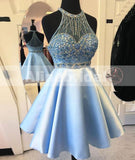 Pale Blue Rhinestone Beaded Halter  For Teens Homecoming Dresses,BD00217