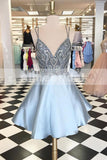 Gorgeous Spaghetti Strap Beaded Rhinestone Top Grey  For Teens Homecoming Dresses,BD00218