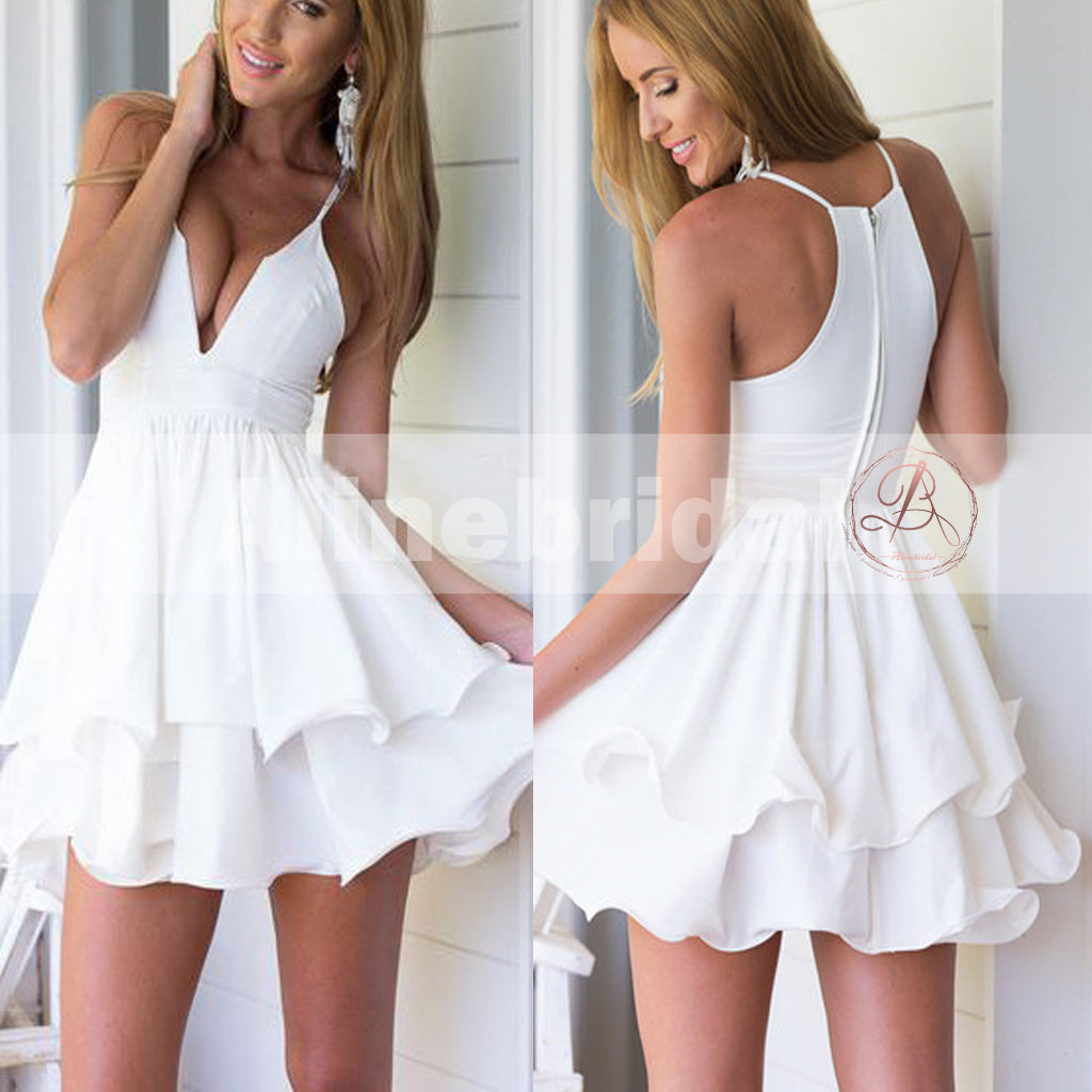 Simple Cheap Ivory Spaghetti Strap Ruffles Mini Homecoming Dresses,BD00218