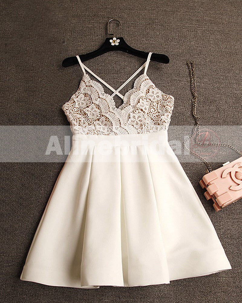 Elegant Ivory Lace Top Spaghetti Strap A-line For Teens Homecoming Dresses,BD00219