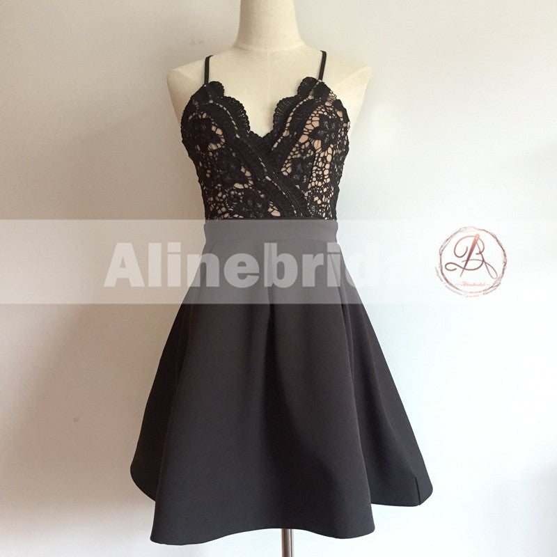 Popular Black Lace Top Spaghetti Strap Criss-Cross Backless A-line  Homecoming Dresses,BD00220