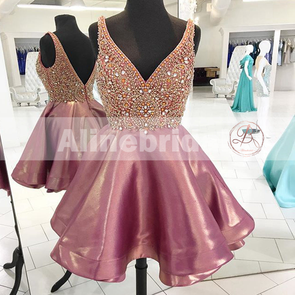 Dusty Rose Stunning Rhinestone Sparkly Beaded Top Homecoming Dresses,BD00221