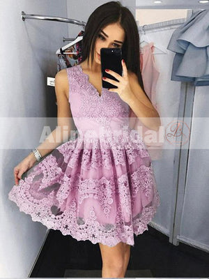Mismatched Lace V-neck Sleeveless A-line Popular Fashion Homecoming Dresses,BD00223