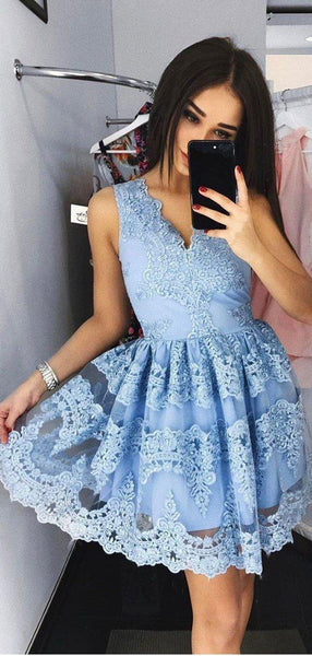 Sky Blue V Neck Lace Applique A Line Short Homecoming Dress, BTW270