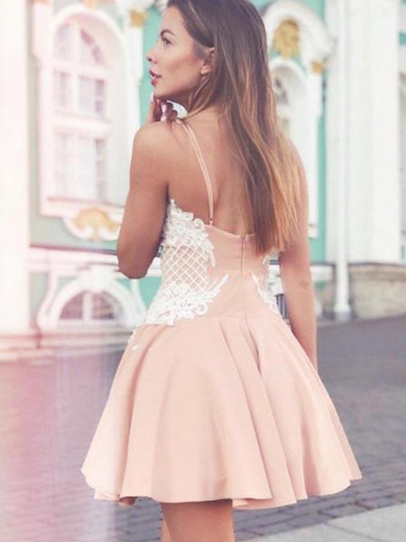 Pretty Spaghetti Strap Backless Lace Applique A Line Short Homecoming Dress, BTW271