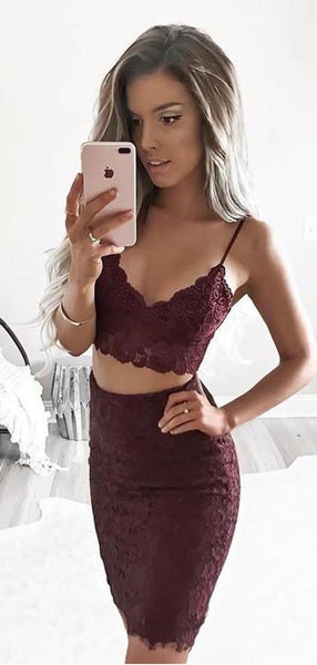 Two Pieces Dark Red Saphetti Strap Full Lace Tight Short Homecoming Dress, BTW272