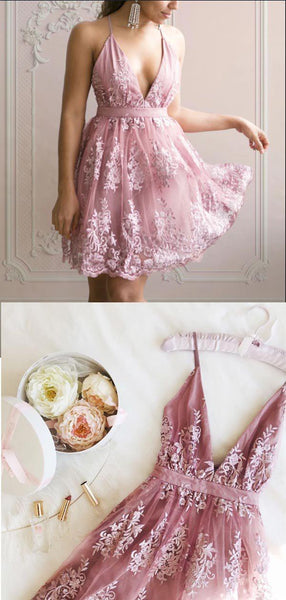 Elegant Dusty Rose V Neck Lace A Line Short Homecoming Dress, BTW273