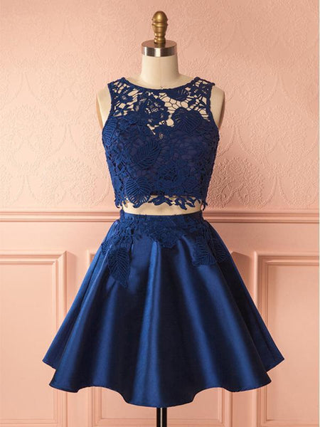 Two Pieces Navy Blue Lace Top Satin A Line Short Homecoming Dress, BTW274