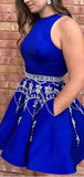 Royal Blue Halter With Pocket Beaded Satin A Line Short Homecoming Dress, BTW275