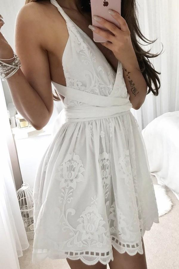 Fashion V Neck Criss Cross White Lace A Line Short Homecoming Dresses, BTW290