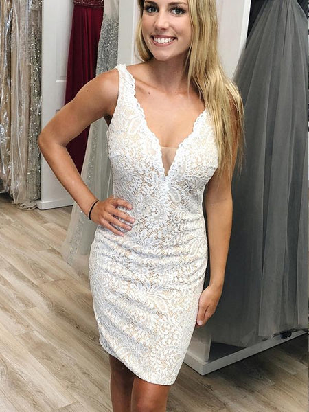 Sexy Deep V Neck Sleeveless Full Lace Tight Short Homecoming Dress, BTW280