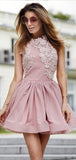 Fashion Round Neck Lace Applique Satin A Line Short Homecoming Dress, BTW282