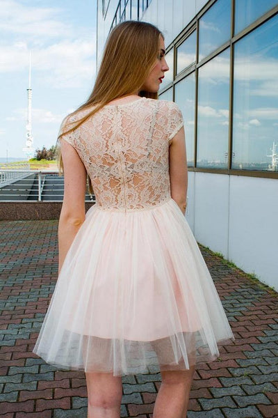 Charming Cap Sleeves Lace Top Tulle A Line Short Homecoming Dress, BTW283